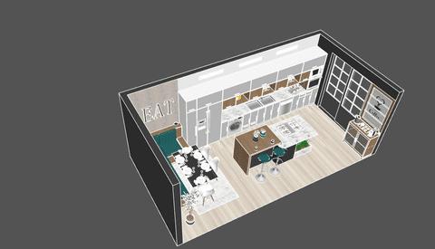 تصميم داخلي لمطبخ وغرفة طعام