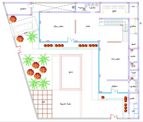 تصميم مخطط فيلا حرف L