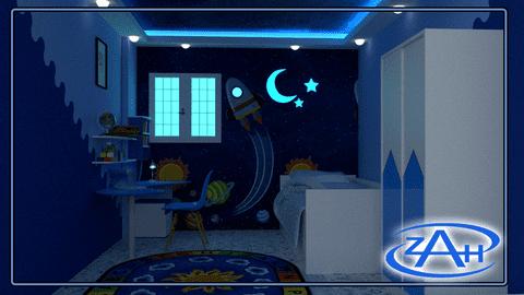 تصميم داخلى لغرفة نوم أطفال( رائد فضاء المستقبل )