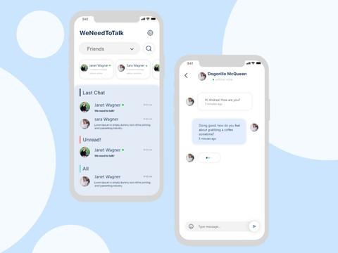تصميم UI/UX لتطبيق تشات ومحادثات