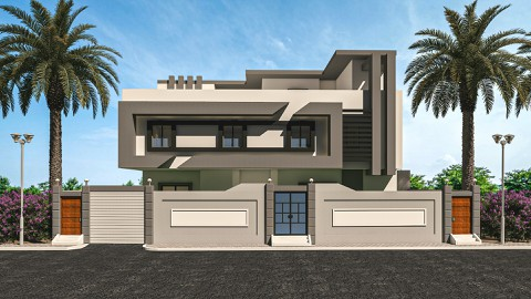 تصميم واجهة مودرن لفيلا في السعودية