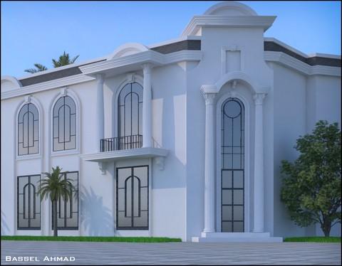 تصميم واجهة نيو كلاسيك لعمارة سكنية في السعودية