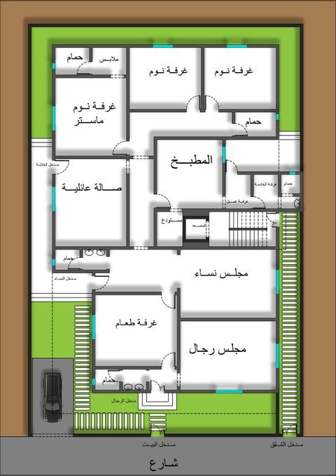 تصميم مخطط معماري منزل دور أرضي وشقق في الدور الأول