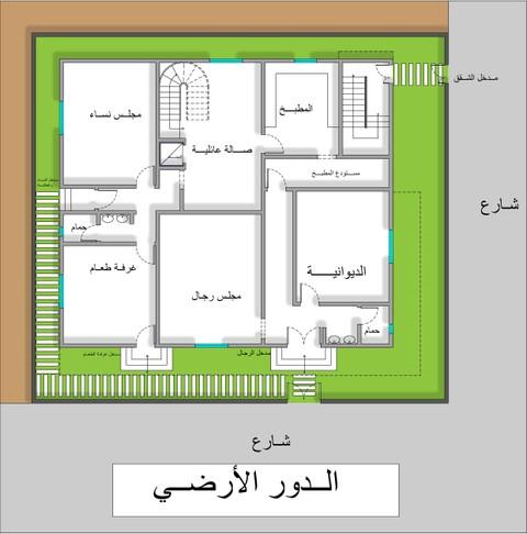 مخطط معماري عبارة عن فيلا دوين وملحق بالإضافة لشقق مستقلة