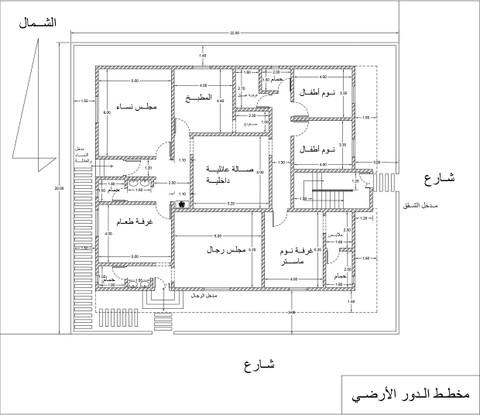 تصميم مخطط معماري بيت دور أرضي وشقق في الدور الأول