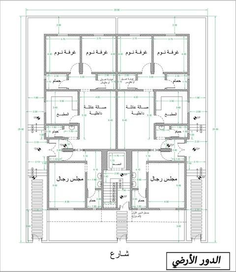 تصميم مخطط لعمارة دورين وملحق في السعودية