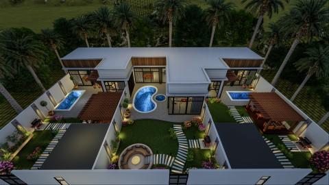 تصميم خارجي 3D مودرن لثلاث شاليهات مع الحدائق