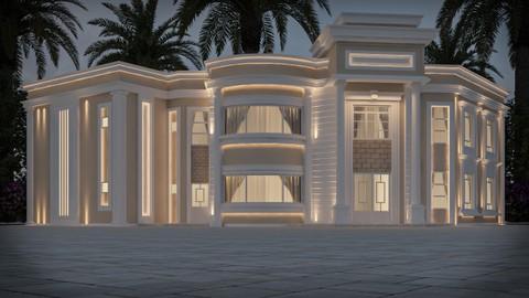 تصميم واجهة نيوكلاسيك لفيلا على شارعين في السعودية