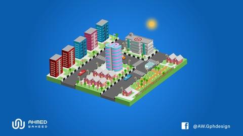 3d isometric city