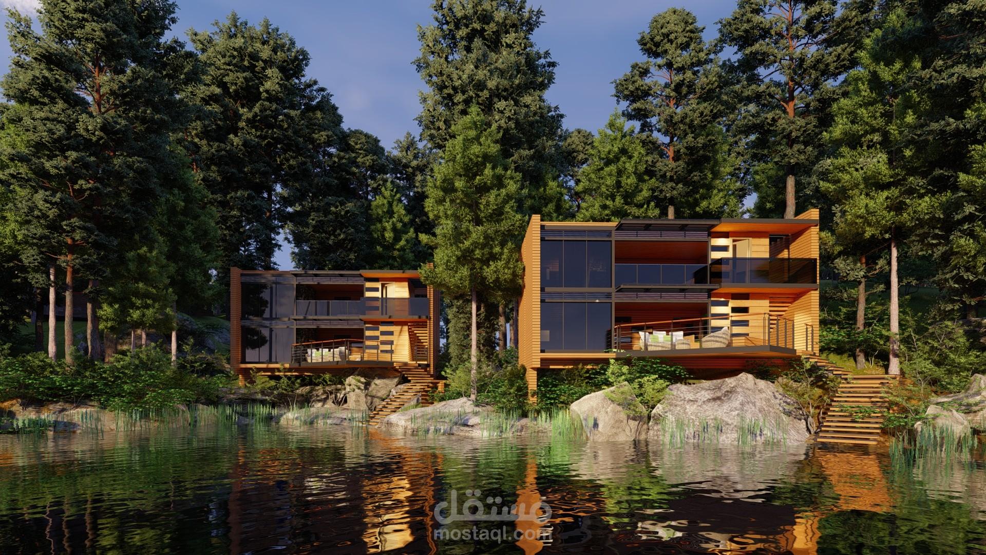 تصميم لمنزل خشبي علي بحيرة في نيوزيلندا