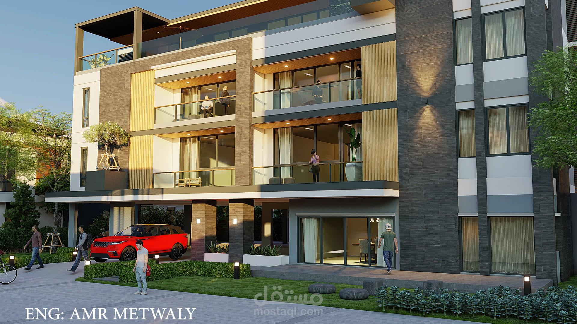تصميم لسكن طلبه (عمارة سكنيه) بجمهورية مصر العربيه