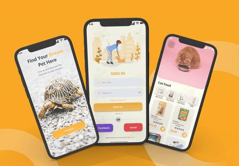 تصميم تطبيق لبيع الحيوانات الأليفه
