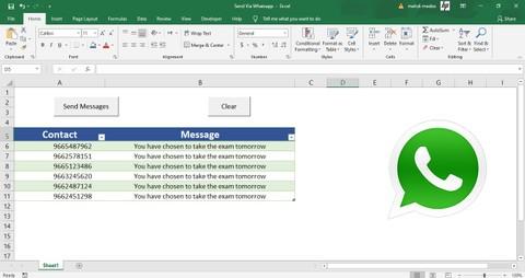 برنامج لإرسال رسائل في الواتساب عن طريق إكسيل