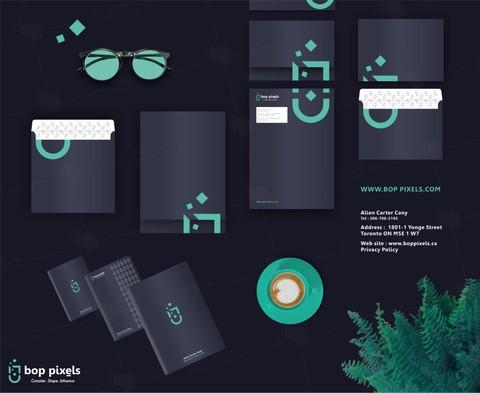هوية بصرية لشركة ( bop pixels ) بكندا
