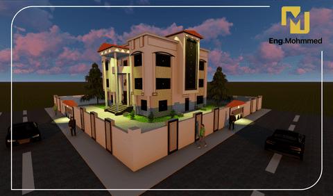 تصميم معماري خارجي ثلاثي الأبعاد 3D