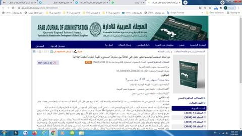 بحث علمي منشور في المجلة العربية للإدارة وهي إحدى المجالات الكويتية المحكمة المتخصصة في العلوم الادارية