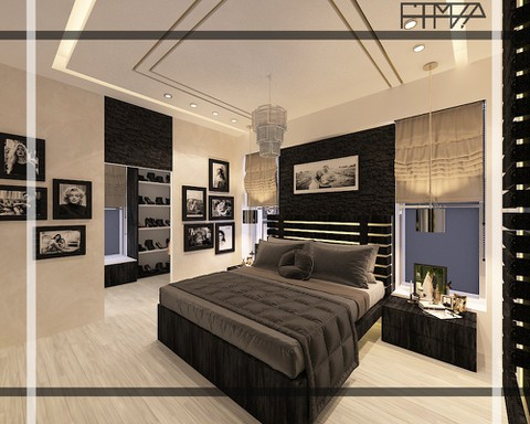 تصميم داخلي مودرن لغرفة نوم مع غرفة ملابس وحمام