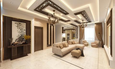 تصميم داخلي وديكور لصالون وغرفة معيشة