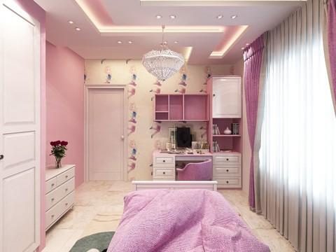 تصميم داخلي وديكور لغرفة بنات