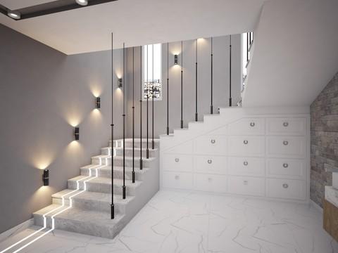 تصميم مدخل درج مع إنارة