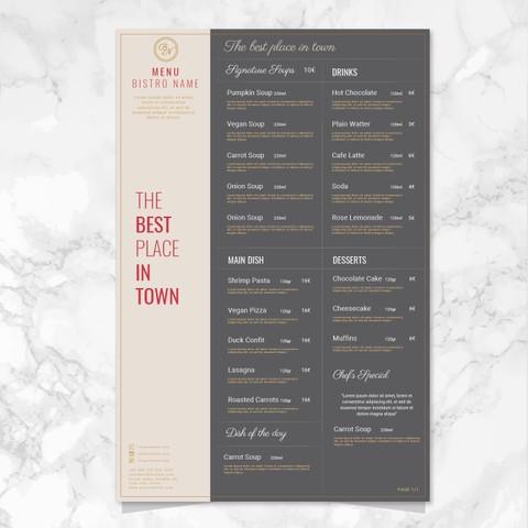 menu for resturant