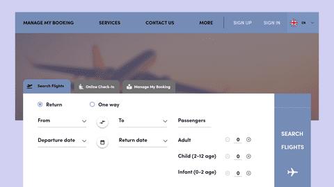 تصميم واجهة موقع لحجز تذاكر طيران