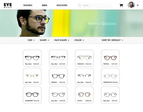 تصميم واجهة موقع خاص بالنظارات